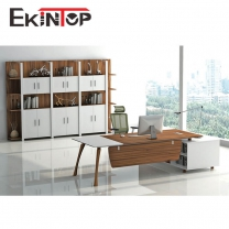 L shaped wood office desk by office furniture manufacturer in Ekintop