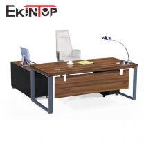Long office desk with locking drawers by office furniture manufacturers