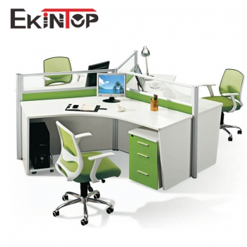 120 degree office desk for 3 person
