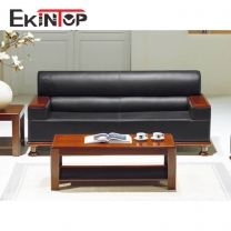 Black leather sofa by office furniture manufacturer in Ekintop